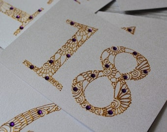 Gold and Boysenberry Purple Henna Table Numbers