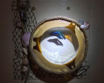 Handmade wave art design stained glass mosaic mirror fish tank for Betta fish mirror