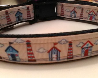 Handmade Lighthouse dog collar adjustable nylon
