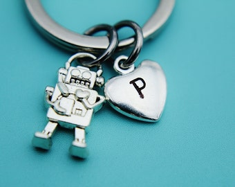 Silver Robot Charm Keychains, Silver Robot Heart Charm Keychain, Silver Robot Charm, Silver Keychain, Robot Jewelry, Gifts for Her under 30
