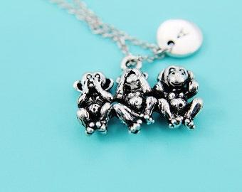 Three Wise Monkeys Pendant Charm Necklace Three Mystic Apes Charm  Mizaru Kikazaru Iwazaru Peaceful Jewelry Personalized Initial Necklace