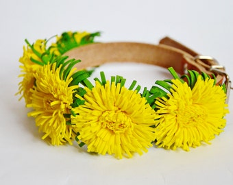 Wedding dog collar,Flower dog collar,Yellow dandelion floral leather dog collar