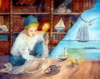 """dessin aquarellé/ watercoloured drawing 28""""x23"""""""