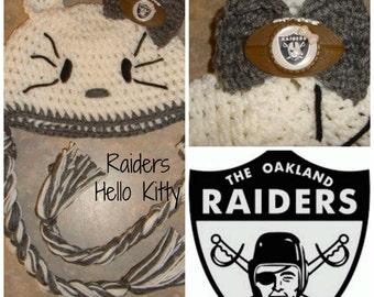 Raiders Girl Hat. Hello Kitty Hat, Black and white Hat, Football hat, Winter Hat, Women Hat