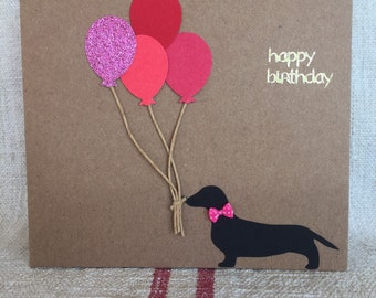 Dachshund Happy Birthday balloon Card