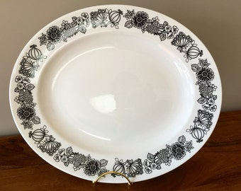 Black & White Manitou By Grindley Oval Platter Staffordshire Ironstone, England.