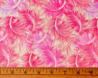 Fuchsia Feathers on A Cream Background, Fabric by Timeless Treasures, C6076