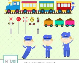 Train clipart , train traffic signs clipart, vector graphics, train driver clipart, digital clip art, digital images - CL 091