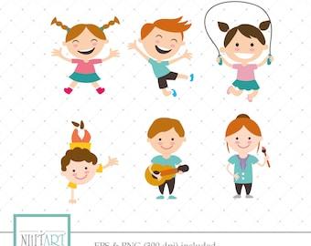Kids clip art,children playingclipart, vector  graphics,childrenclipart, digital clip art, digital images