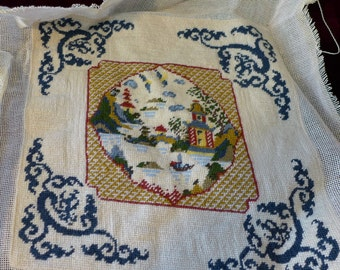 Free Shipping! Beautiful finished Needlepoint Canvas With Asian Motive