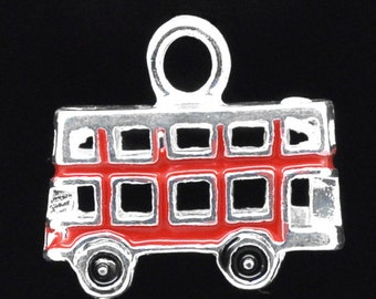 4 Red Enamel 3-D Double Decker Bus Charms
