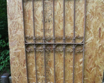 Antique Victorian Iron Gate Window Panel Fence Architectural Salvage Guard J