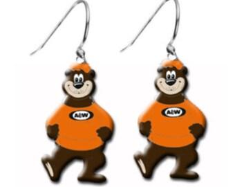 A & W Rootbeer Bear Advertising Root Beer Bears Charm Hoop Earrings
