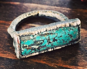 Turquoise bar ring in silver