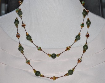Handknotted Necklace, Handmade Necklace, Green Bead Necklace, Long Beaded Necklace, German Glass Beaded Necklace, Double Strand Beads