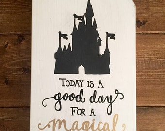 Rustic Home Decor, Magical Day Sign ~ Disney Wedding/ Anniversary, Rustic Pallet Sign, Hand Painted Sign, Disney Sign