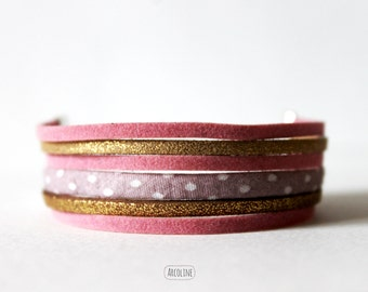 Bracelet Multi rows pink gold suede