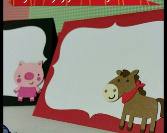 10 Farm Animal Themed Place Cards/ Buffet cards, Barn Party Place cards