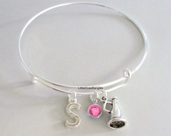 CHEERLEADER Megaphone Bangle Bracelet  W/ A Birthstone - Initial  Under Twenty / Sports Team Gift  For Her USA  SC1