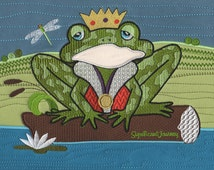 Prince Charming Frog Machine Embroidery Applique Design for Handbag