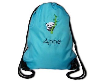 Gym bags with a Panda and name embroidered