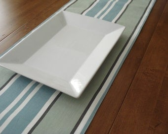 Table Runner / Dining Table / Fabric Table Runner / Stripe Table Runner/ Blue Green StripeTones / Ready To Ship