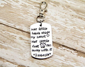 Father's Day Gift - Daddy Key chain - Personalized Father's Key Chain -Her little Hands Stole my Heart - Daddy - Grandpa - Papa - Pappy