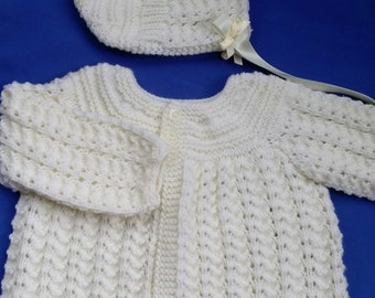 Baby Girls Cardigan and Matching Hat