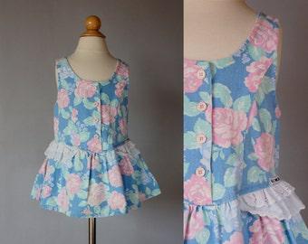 Vintage 1990's Denim Floral Jumper / Girls size 3T / Vintage Toddler Denim Jumper / Vintage Girls Floral Dress / Toddler Size 3