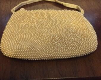 1940's Cream Faux Pearl Evening Bag.