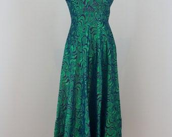 Stunning Vintage Handmade Irredescent Green and Purple Evening Dress, Size UK 10, US 6