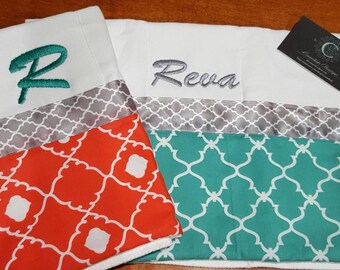 Set of 2 Personalized Coral/Turquoise/Grey Burp Cloths