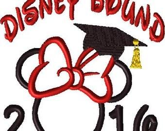 Disney Bound 2016 Graduation Embroidery Minnie Applique Design
