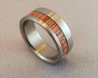 Titanium and African Mahogany inlay ring, Mahogany inlay, Wood and metal ring, African Mahogany