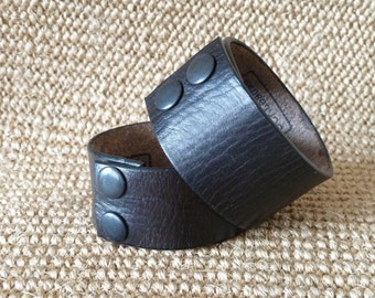 SCKLeather Black Veg Tanned Leather Wrist cuff.
