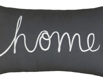 """Free Shipping-Home Sentiment Pillow Cover Embroidered Pillow Throw Pillow Decorative Pillow Wedding Birthday Anniversary Gift 14""""x24"""" (Grey)"""
