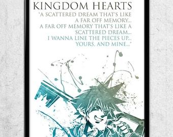 Kingdom Hearts Sora Watercolor print/poster, wall art