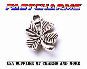 FOUR LEAF CLOVER Charms, 20 pcs, jewelry supplies, jewelry making, charms for bracelets, good luck charms, wholesale, fastcharms (YB17H)