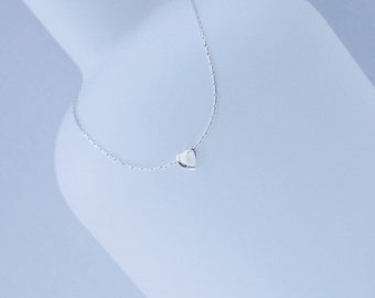 Sterling Silver Tiny Heart Necklace/Silver Heart/Heart Necklace/Delicate chain/Everyday/Layer/Gift/Bridal/Choker/bff/uk