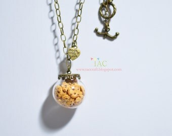 Miniature Choco Chips Cookies in Glass Dome Necklace