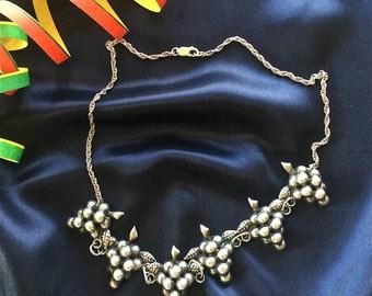 "Pretty Vintage Grape Cluster Silver 18"" Necklace"