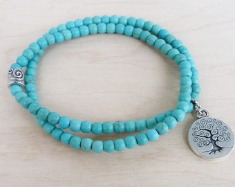 Turquoise Bracelet for women Gift sister Tree of Life Bracelet for her, Turquoise Jewelry Turquoise Tree of Life Jewelry Tree Bracelet