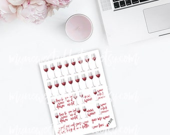 Wine Down Planner Stickers - Red Wine