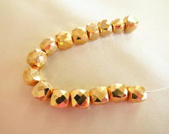 Gold Pyrite Faceted Gem Cubes - 7mm - 15 Gemstones