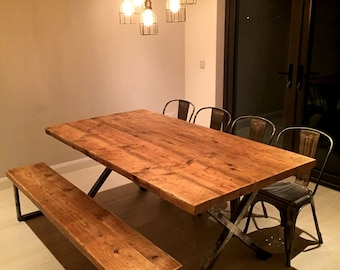 Retro,Industrial style Solingen dining table from salvaged timbers & mild steel
