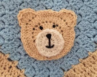 Crochet Bear Blanket, Crochet baby blanket, Stroller blanket, Car seat blanket, Baby Afghan, baby shower gift, C2C blanket