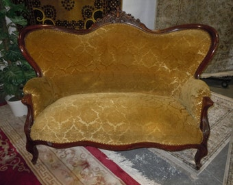 ON SALE Antique Victorian French Provincial Ornate Wood Carved settee sofa couch