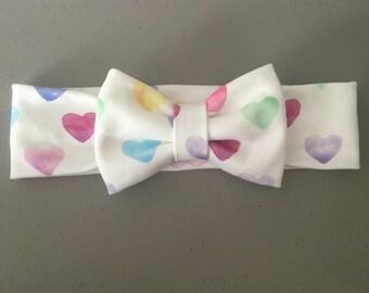 Watercolor Hearts BOWBAND Headband