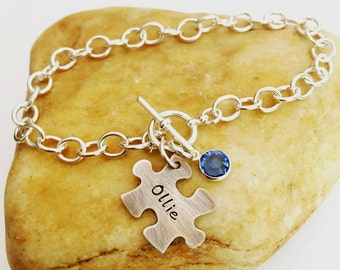 Hand Stamped Puzzle Piece & Swarovski Birthstone on Cable Bracelet with Toggle Clasp, All Sterling Silver ~ Autism Awareness