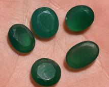 5 Pieces Lot Green Onyx Faceted Loose Gemstone, 24 Carats Green Chalcedony Gemstone Faceted Stone Onyx Gemstone Loose Cut Stone